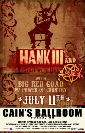 HANK III assjack BIG RED GOAD rare CONCERT POSTER collectible