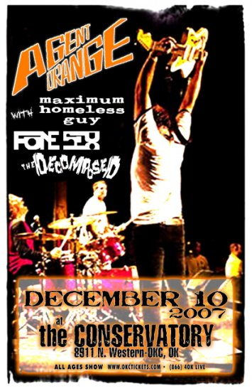 AGENT ORANGE maximum homeless guy CONCERT POSTER