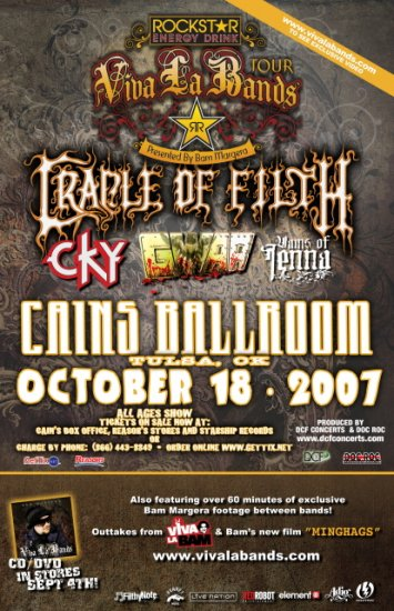 CRADLE OF FILTH rare GWAR concert poster Vains of Jenna collectible