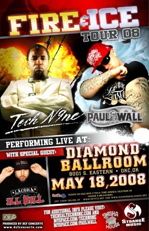 TECH N9NE rare PAUL WALL promotional CONCERT POSTER collectible