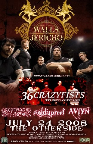 WALLS OF JERICHO 36 crazyfists CONCERT POSTER aviyn collectible