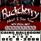 BUCKCHERRY rare CONCERT poster CROSSFADE Collectible