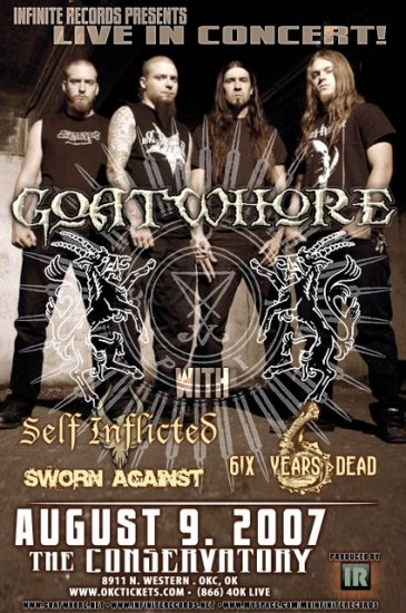 GOATWHORE self inflicted concert tour poster 6 yrs dead collectible