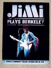 Jimi Hendrix plays berkeley promotional poster collectible