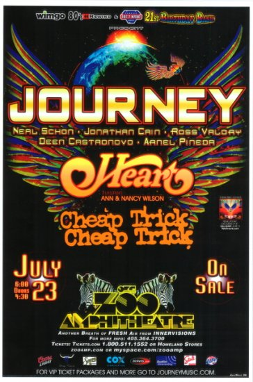 JOURNEY with HEART and CHEAP TRICK rare promotional CONCERT poster collectible