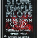 STONE TEMPLE PILOTS with SHINEDOWN with COHEED and CAMBRIA promotional CONCERT poster collectible