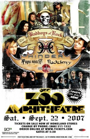HINDER papa roach BUCKCHERRY promotional concert poster collectible