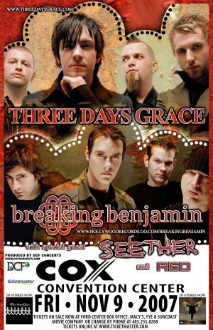 THREE DAYS GRACE breaking benjamin CONCERT poster collectible