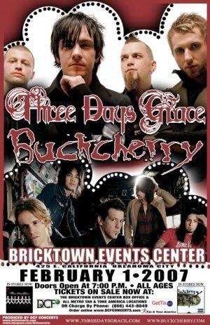 THREE DAYS GRACE promotional concert poster BUCKCHERRY collectible