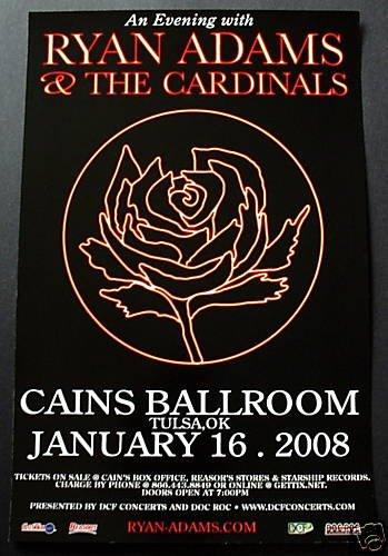 RYAN ADAMS & CARDINALS rare promotional CONCERT poster