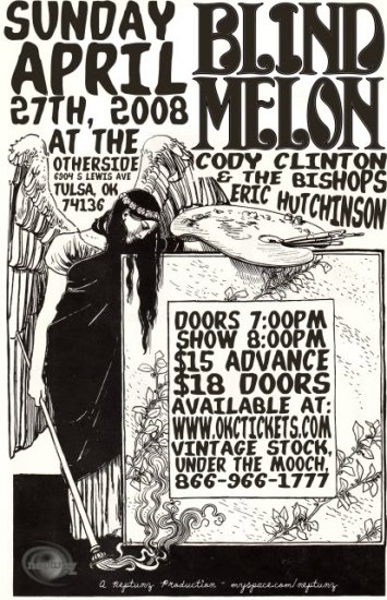 """Blind Melon with Cody Clinton & The Bishops and Eric Hutchinson  11"""" x 17"""" Concert Poster"""