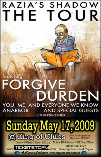 """Forgive Durden with You, Me, and Everyone We Know 11"""" x 17"""" Concert Poster"""