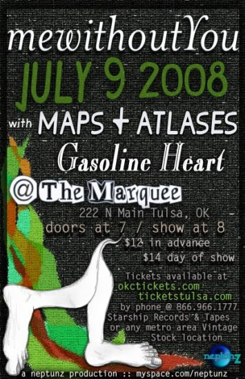"""Me Without You with Maps & Atlases & Gasoline Heart 11"""" x 17"""" Concert Poster"""