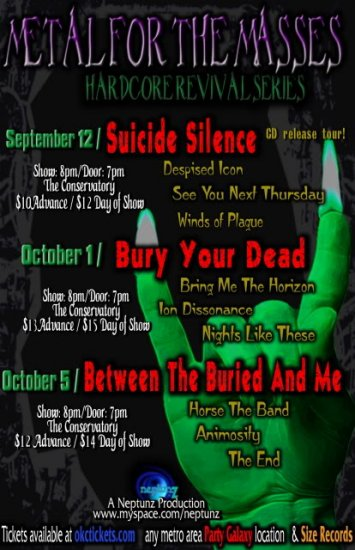 """Bury Your Dead with Suicide Silence 11"""" x 17"""" Concert Poster"""