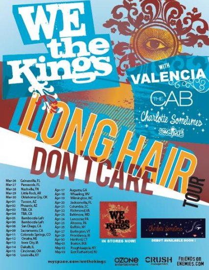 """We The Kings with Valencia & The Cab & Charlotte Sometimes 11"""" x 15"""" Concert Poster"""