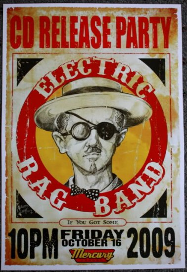 """Electric Rag Band promotional Thom Self 13"""" x 19"""" Concert Poster"""