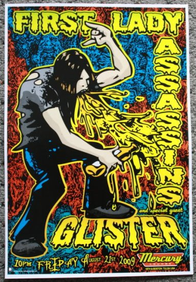"""First Lady Assassins with Glister promotional Thom Self 13"""" x 19"""" Concert Poster"""