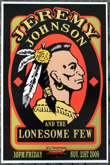 "Jeremy Johnson & the Lonesome Few promotional Thom Self 12"" x 18"" Concert Poster"