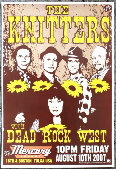 """The Knitters with Dead Rock West promotional Thom Self 13"""" x 19"""" Concert Poster"""
