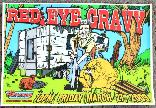 """Red Eye Gravy promotional Thom Self 19"""" x 13"""" Concert Poster"""