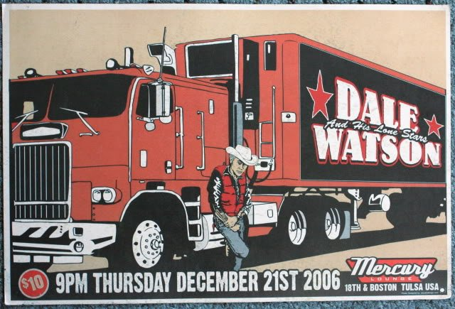 """Dale Watson & His Lone Stars promotional Thom Self 19"""" x 13"""" Concert Poster"""