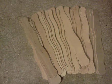 "8"" Unfinished Wood Wavy Paddle Fan Sticks (Case of 300)"