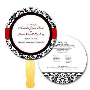 Circle Damask Wedding, Program Hand Fans, Outdoors Event, Auction, Bid Paddles