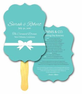 Bow Die Cut Wedding Program Hand Fans Outdoor Event Church Auction Bid Paddles
