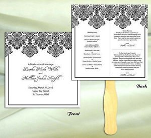 Square Frame Print Wedding Program Hand Fans Outdoors Event Auction Bid Paddles