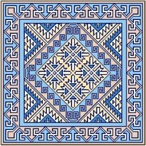 "6050 Geometric Needlepoint Canvas 14"" x 14"""