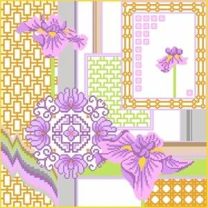 6888 Iris Floral Needlepoint Canvas