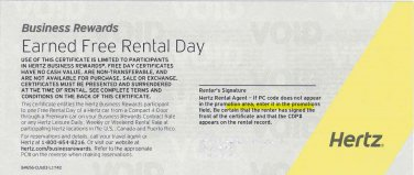 7 Hertz Free Rental Day Certificates
