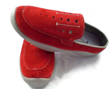 Slip on Mules Women's Comfort Shoes Red Suede Size 7M