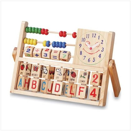 WOOD EDUCATIONAL TOY W/CLOCK