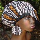 Billed Hat & Earring Set-Reversible-Black Fleece w/Brown, Gold & White