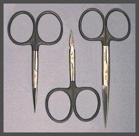 Fly Tying Scissors - Black Loops - Set of Three