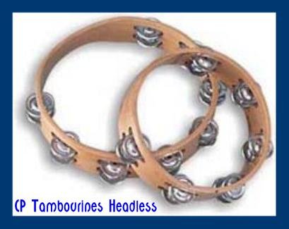 Set Of Two Tambourines, Headless, Double Row Jingles