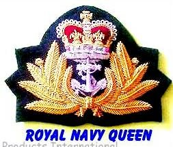 ROYAL NAVY OFFICER HAT CAP CAPT. Bullion Badge QUEEN Crown NEW - CP Brand By COLUMBIA PRODUCTS