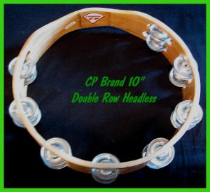 "CP TAMBOURINES New Double Row Jingles HEADLESS 10"" Size"