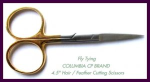 "4.5"" FEATHER CUTTING FLY TYING SCISSORS GOLD LOOPS F/SH"