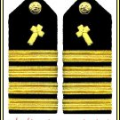 NEW US NAVY HARD Shoulder Boards CAPTAIN CHRISTIAN CHAPLAIN - CP MADE