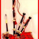 EBONY BLACKWOOD SCOTTISH HIGHLANDER ENGRAVED FULL BAGPIPES SET WITH CARRY BOX