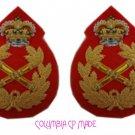 UK British Army Field Marshal General Uniform Rank Badge Queen Crown Pair NEW