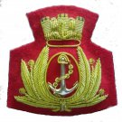 ITALIAN NAVY OFFICER HAT CAP BADGE NEW HAND EMBROIDERED FREE SHIP IN USA CP MADE