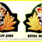 2 ROYAL NAVY OFFICER CAP HAT CAPT ADMIRAL ROYAL KING & QUEEN BADGES NEW CP MADE