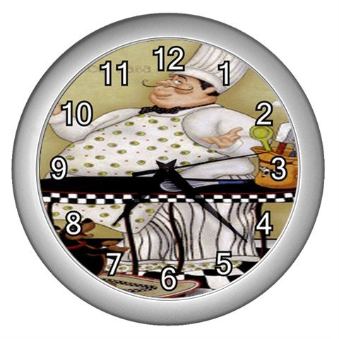 Chef Wall Clock (Silver)
