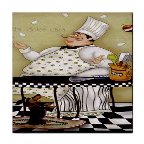 Juggling Chef Tile Coaster