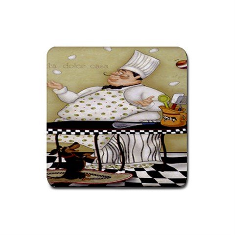 Juggling Chef Rubber Square Coaster (4 pack)