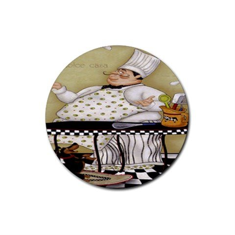 Juggling Chef Rubber Round Coaster (4 pack)