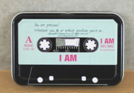 Quirky Retro Style Cassette Tape With Words Metal Box For Business Cards Name Cards Little Trinkets